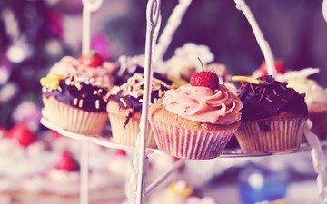 клубника, шоколад, сладкое, десерт, кексы, крем