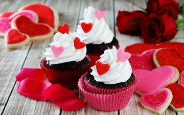 roses, love, heart, sweet, cookies, cakes, dessert, glaze, valentine's day, cupcakes, cream
