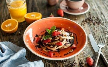 клубника, ягоды, цитрус, завтрак, шоколад, блины, оладьи