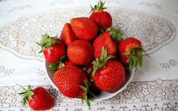 strawberry, table, berries, plate, tablecloth