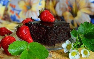 цветы, листья, клубника, ягоды, сладкое, десерт, пирожное, тортик, цветы