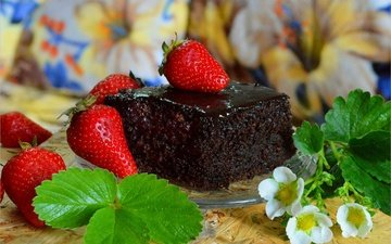 flowers, leaves, strawberry, berries, sweet, dessert, cake