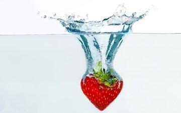 вода, капли, ягода, клубника, брызги, всплеск