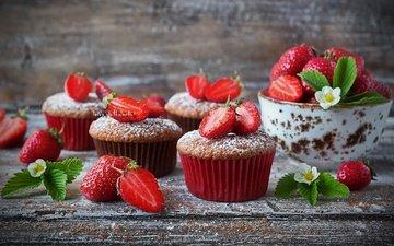 strawberry, berries, sweet, cakes, dessert, powdered sugar, cupcakes