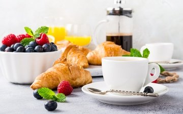 coffee, berries, breakfast, orange juice, croissants