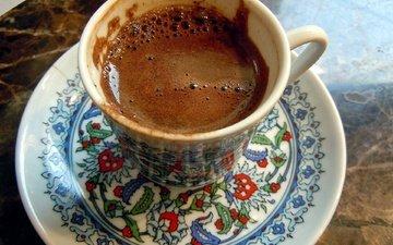 кофе, блюдце, чашка