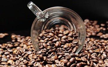 кофе, черный фон, чашка, кофейные зерна
