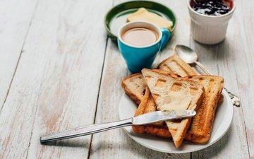 coffee, oil, cup, breakfast, jam, toast