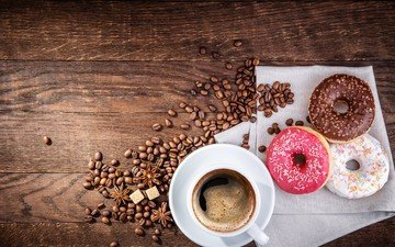 кофе, чашка, кофейные зерна, пончики, сахар, выпечка, глазурь, бадьян, деревянная поверхность