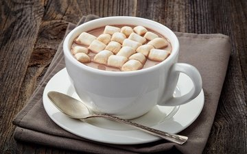 cup, sweet, marshmallows, spoon, cocoa, hot chocolate