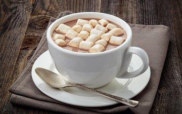 чашка, сладкое, зефир, ложка, какао, горячий шоколад, маршмеллоу