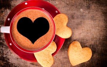 кофе, чашка, сердечки, печенье, выпечка