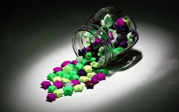 звезды, разноцветные, конфеты, звездочки, банка