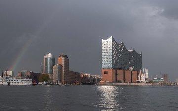 ship, rainbow, home, germany, harbour, hamburg