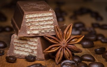 корица, кофе, шоколад, кофейные зерна, вафли, анис, бадьян