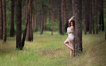 grass, trees, forest, girl, summer, kazakhstan, murat kuzhakhmetov