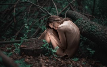 forest, girl, pose, hair, face, naked, closed eyes