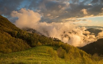 the sky, clouds, mountains, sunset, summer, the caucasus, adygea, thach,, dmitry monastyrskiy