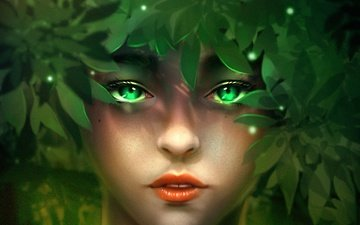 leaves, girl, look, fantasy, face, green eyes, minnhsg