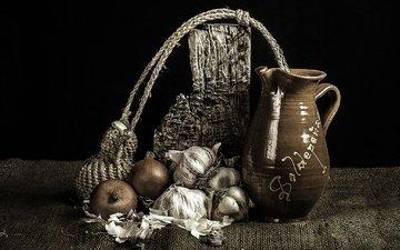 bow, black background, pitcher, still life, garlic, burlap
