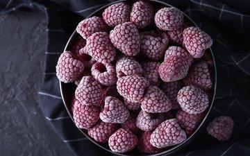 малина, иней, темный фон, ткань, ягоды, миска