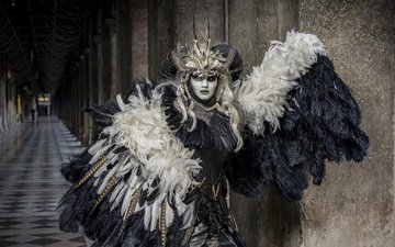 mask, feathers, costume, carnival