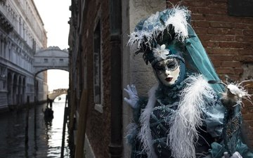 girl, mask, venice, channel, model, feathers, costume, carnival