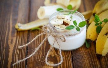 мята, фрукты, завтрак, десерт, банан, йогурт, деревянная поверхность