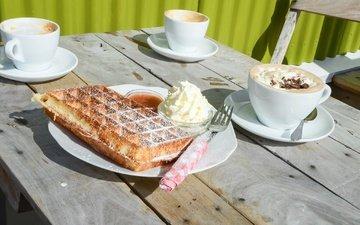 мороженое, еда, кофе, чашка, сладкое, десерт, сахарная пудра, капучино, вафли