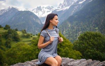 горы, природа, девушка, платье, брюнетка, модель, профиль, сидя, ангелина петрова, денис петров
