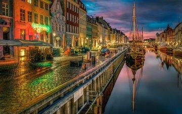 корабли, город, канал, дома, набережная, копенгаген, дания