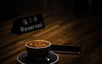 напиток, кофе, чашка, телефон, капучино, пенка