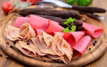 доска, мясо, колбаса, перец, ветчина, нарезка, мясные продукты