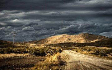 небо, дорога, тучи, гора, лэп, линия электропередачи