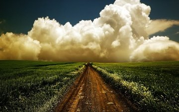 the sky, road, grass, clouds, nature, landscape, morning, field, horizon