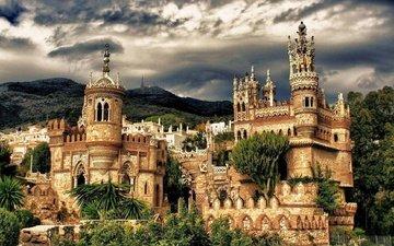 the sky, castle, spain, vegetation, castillo de colomares, colomares castle