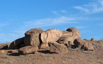 the sky, stones, the steppe