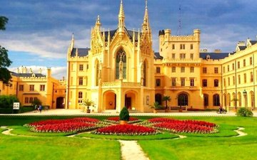 the sky, castle, prague, flowerbed, czech republic, the lednice castle, zamek lednice