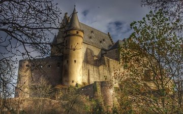the sky, clouds, trees, branches, castle, tower, wall, luxembourg, vianden, castle vianden