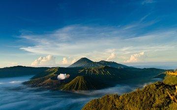 небо, облака, горы, пейзаж, вулкан, индонезия, ява