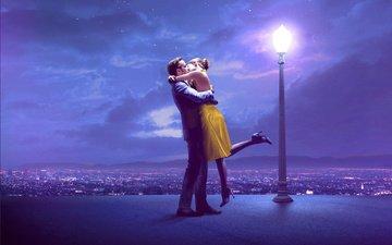 the sky, clouds, night, panorama, the city, lantern, love, pair, kiss, date