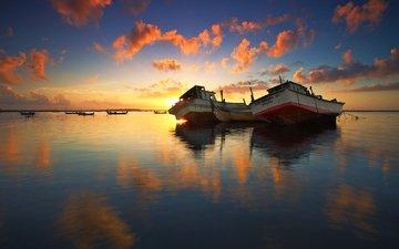 the sky, clouds, lake, reflection, ships, dawn, boats