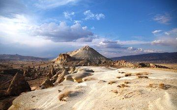 небо, облака, песок, пустыня, гора, турция
