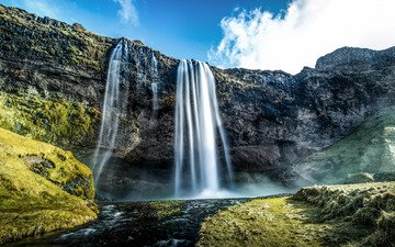 небо, облака, река, горы, ручей, водопад, исландия, селйяландсфосс