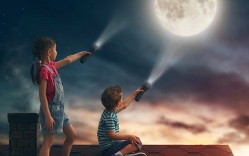 небо, свет, луна, дети, девочка, мальчик, крыша, фонарики
