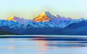 небо, свет, озеро, горы, восход, снег, новая зеландия, new zeland, aoraki mount cook