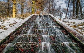 деревья, снег, парк, ручей, стволы, нидерланды, guelders, velp