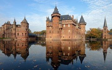 вода, замок, нидерланды, голландия, замок де хаар