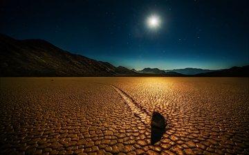 ночь, горы, пустыня, сша, калифорния, долина смерти, калифорнийская