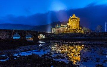 ночь, мост, замок, архитектура, остров, крепость, шотландия, эйлен-донан, замок эйлен-донан, фьорд лох-дуйх